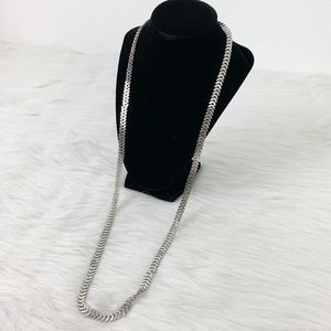 Marlyn Schiff Silver Omega Chain Long Necklace